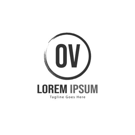 Initial OV logo template with modern frame. Minimalist OV letter logo vector illustration 写真素材 - 130100012