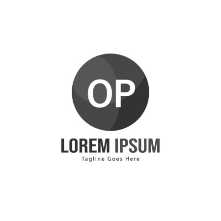 Initial OP logo template with modern frame. Minimalist OP letter logo vector illustration 写真素材 - 130100014