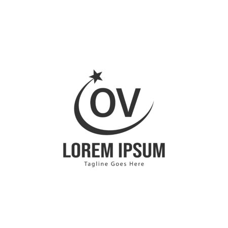 Initial OV logo template with modern frame. Minimalist OV letter logo vector illustration 写真素材 - 130100020