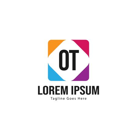 Initial OT logo template with modern frame. Minimalist OT letter logo vector illustration
