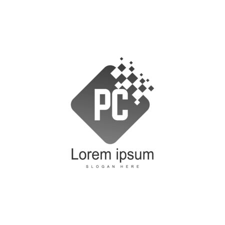 Initial PC logo template with modern frame. Minimalist PC letter logo vector illustration 写真素材 - 130100921