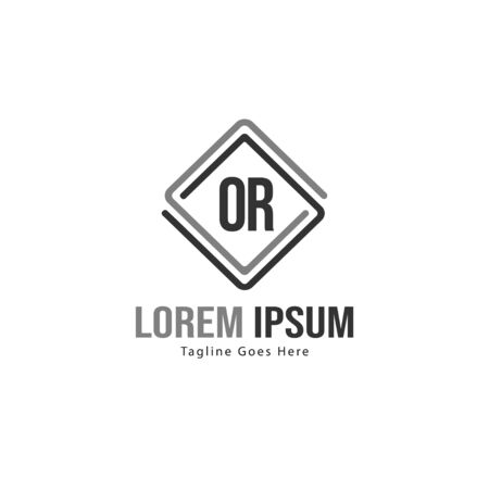 Initial OR logo template with modern frame. Minimalist OR letter logo illustration