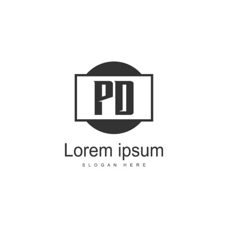Initial PD logo template with modern frame. Minimalist PD letter logo vector illustration