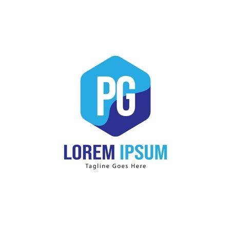 Initial PG logo template with modern frame. Minimalist PG letter logo vector illustration Иллюстрация