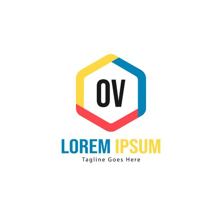 Initial OV logo template with modern frame. Minimalist OV letter logo vector illustration
