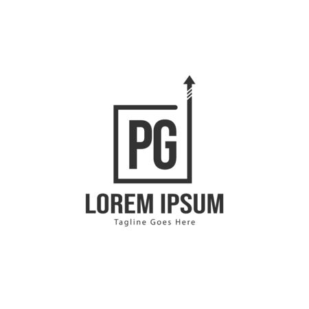 Initial PG logo template with modern frame. Minimalist PG letter logo vector illustration Illustration