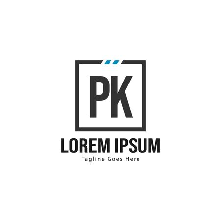 Initial PK logo template with modern frame. Minimalist PK letter logo vector illustration