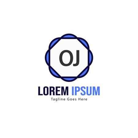 Initial OJ logo template with modern frame. Minimalist OJ letter logo vector illustration Ilustrace