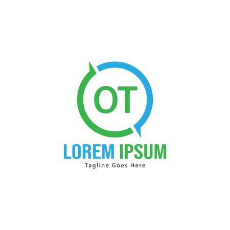 Initial OT logo template with modern frame. Minimalist OT letter logo illustration