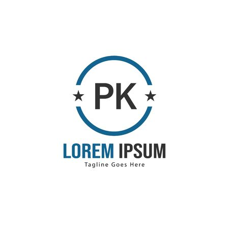 Initial PK logo template with modern frame. Minimalist PK letter logo illustration