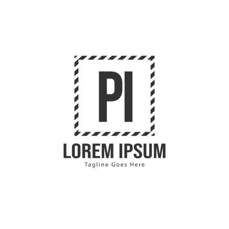 Initial PI logo template with modern frame. Minimalist PI letter logo illustration Ilustração