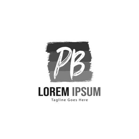 Initial PB logo template with modern frame. Minimalist PB letter logo illustration Ilustração