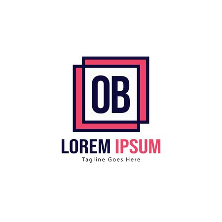 Initial OB logo template with modern frame. Minimalist OB letter logo illustration