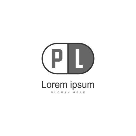 Initial PL logo template with modern frame. Minimalist PL letter logo illustration Ilustração