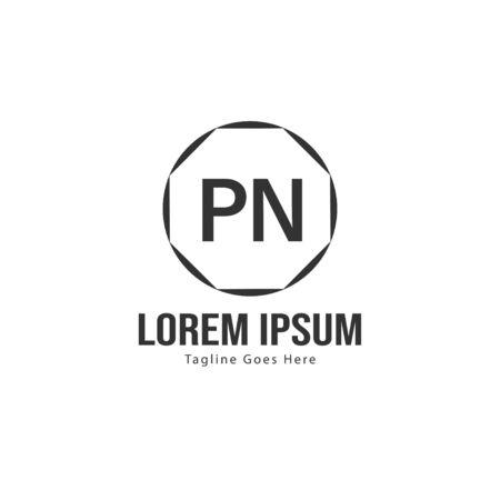 Initial PN logo template with modern frame. Minimalist PN letter logo illustration