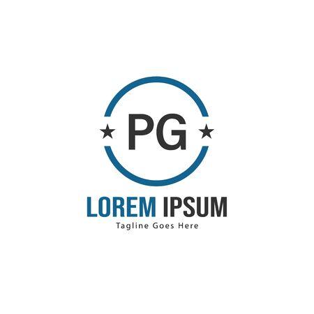 Initial PG logo template with modern frame. Minimalist PG letter logo illustration Ilustração