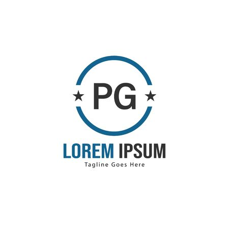 Initial PG logo template with modern frame. Minimalist PG letter logo illustration Illustration