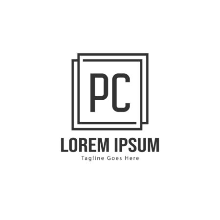 Initial PC logo template with modern frame. Minimalist PC letter logo illustration