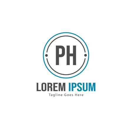 Initial PH logo template with modern frame. Minimalist PH letter logo illustration Illustration
