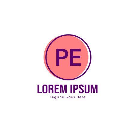 Initial PE logo template with modern frame. Minimalist PE letter logo illustration