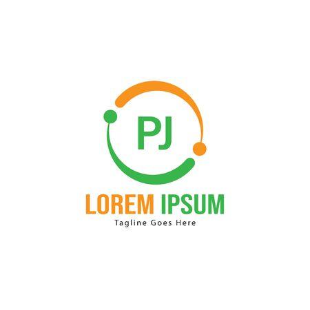 Initial PJ logo template with modern frame. Minimalist PJ letter logo illustration