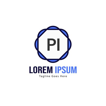 Initial PI logo template with modern frame. Minimalist PI letter logo vector illustration