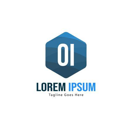 Initial OI logo template with modern frame. Minimalist OI letter logo vector illustration Logo