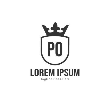 Initial PO logo template with modern frame. Minimalist PO letter logo illustration