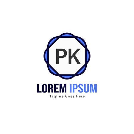 Initial PK logo template with modern frame. Minimalist PK letter logo vector illustration