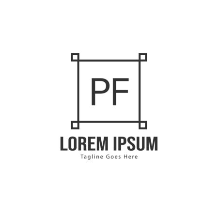 Initial PF logo template with modern frame. Minimalist PF letter logo vector illustration Illustration