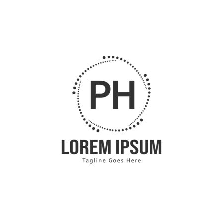 Initial PH logo template with modern frame. Minimalist PH letter logo vector illustration Reklamní fotografie - 131393106