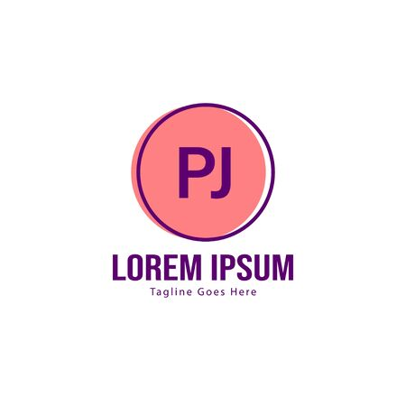 Initial PJ logo template with modern frame. Minimalist PJ letter logo vector illustration  イラスト・ベクター素材