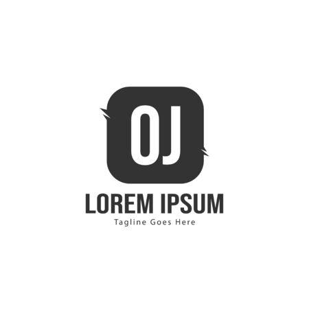 Initial OJ logo template with modern frame. Minimalist OJ letter logo vector illustration  イラスト・ベクター素材