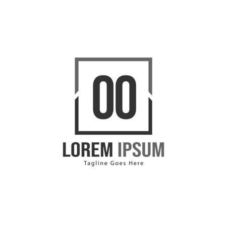 Initial OO logo template with modern frame. Minimalist OO letter logo vector illustration  イラスト・ベクター素材