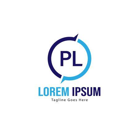 Initial PL logo template with modern frame. Minimalist PL letter logo vector illustration