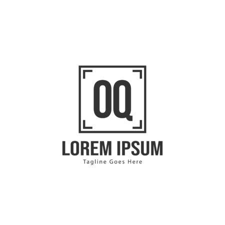 Initial OQ logo template with modern frame. Minimalist OQ letter logo vector illustration  イラスト・ベクター素材