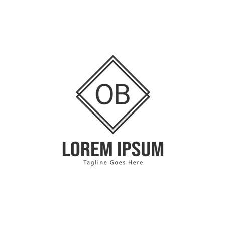 Initial OB logo template with modern frame. Minimalist OB letter logo vector illustration