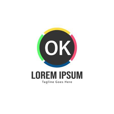 Initial OK logo template with modern frame. Minimalist OK letter logo vector illustration