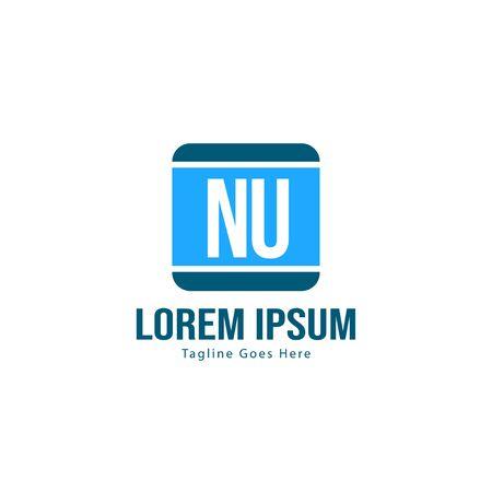 Initial NU logo template with modern frame. Minimalist NU letter logo vector illustration