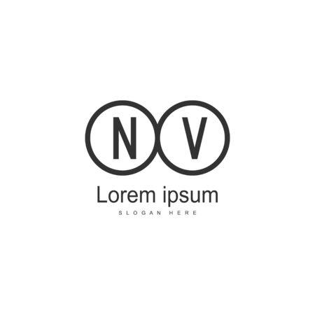 Initial NV logo template with modern frame. Minimalist NV letter logo vector illustration