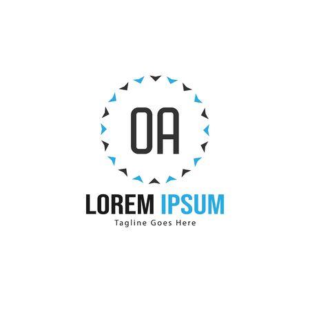 Initial OA logo template with modern frame. Minimalist OA letter logo vector illustration  イラスト・ベクター素材
