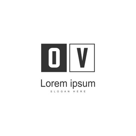 Initial OV logo template with modern frame. Minimalist OV letter logo vector illustration