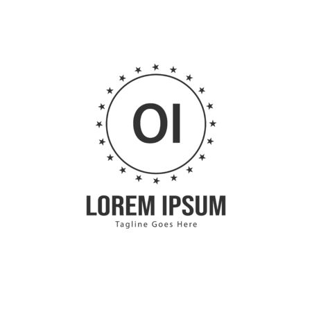 Initial OI logo template with modern frame. Minimalist OI letter logo vector illustration