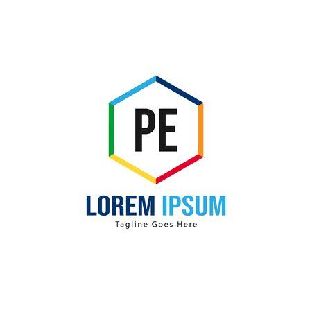 Initial PE logo template with modern frame. Minimalist PE letter logo vector illustration