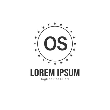 Initial OS logo template with modern frame. Minimalist OS letter logo vector illustration
