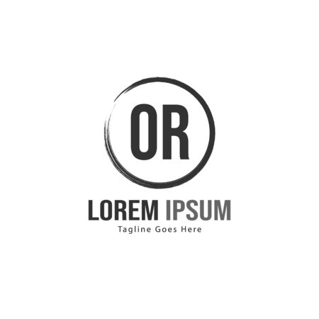 Initial OR logo template with modern frame. Minimalist OR letter logo vector illustration