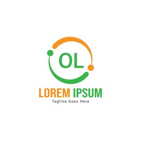 Initial OL logo template with modern frame. Minimalist OL letter logo vector illustration Illustration