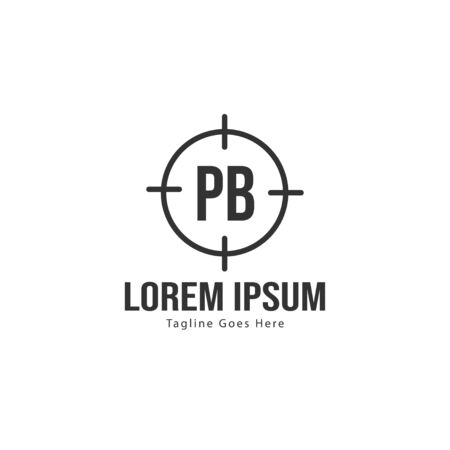 Initial PB logo template with modern frame. Minimalist PB letter logo vector illustration