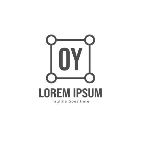 Initial OY logo template with modern frame. Minimalist OY letter logo vector illustration Illustration