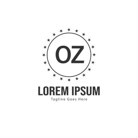 Initial OZ logo template with modern frame. Minimalist OZ letter logo vector illustration Banco de Imagens - 131471241